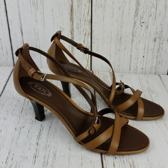 08bdb7f6c1e38 Tod s Leather Strappy Heels Brown Size 39.5 (9.5).  M 5c3e6c1a6197451cbef59278
